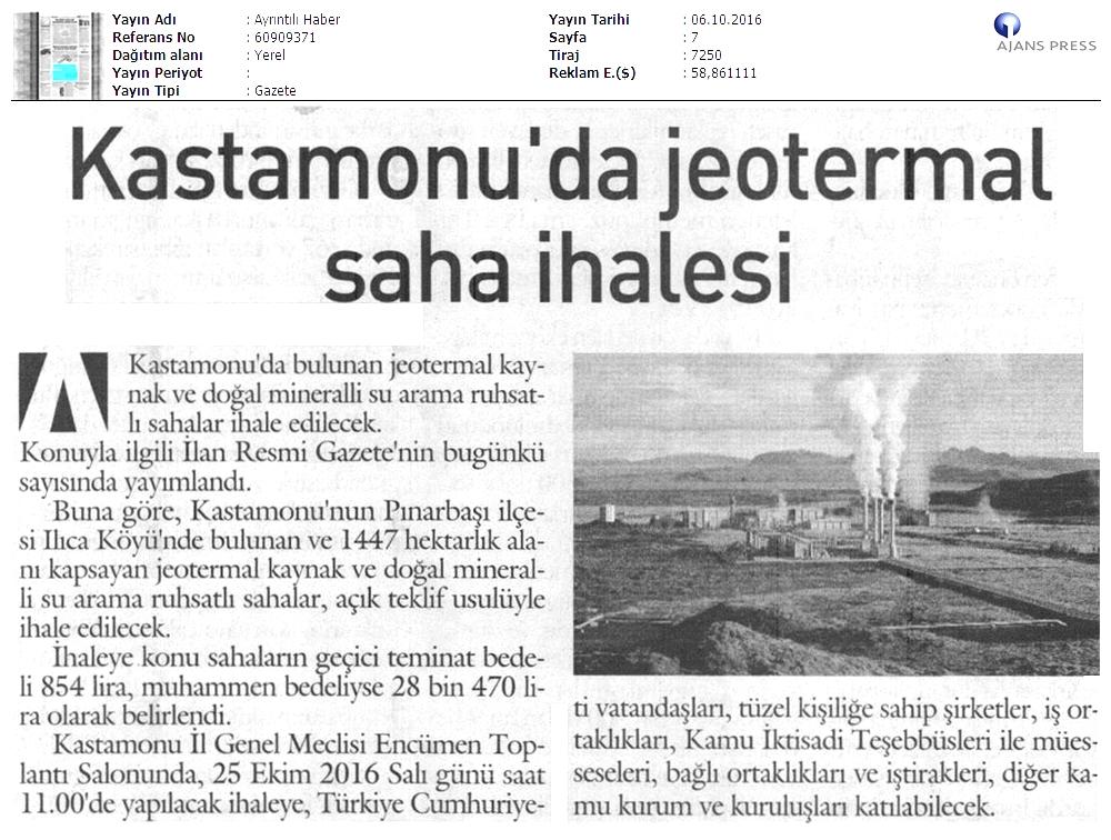Kastamonu'da Jeotermal alanlar ekonomiye kazandýrýlýyor